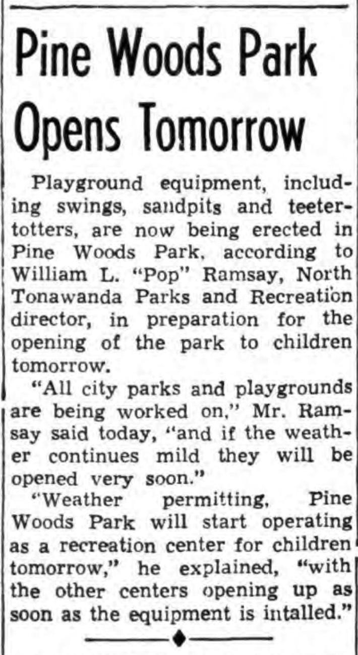 Pine Woods Park opens tomorrow, article (Tonawanda News, 1946-03-27).jpg