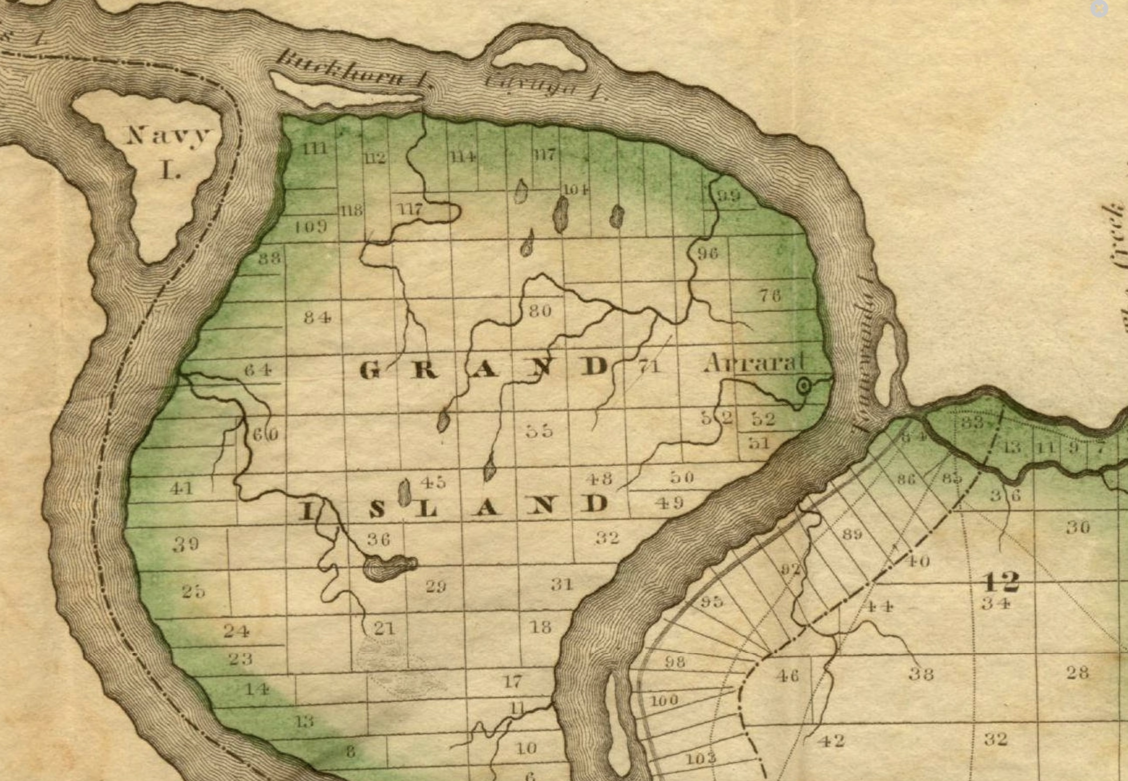 City of Ararat on Grand Island, map (Buffalo and Erie County Public Library, 1829).jpg