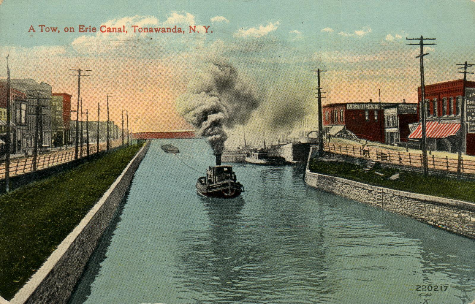 A Tow, on Erie Canal, Tonawanda, postcard (1915).jpg