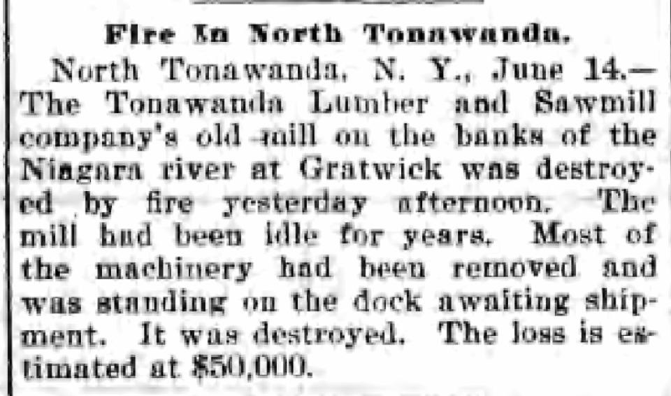 Fire in North Tonawanda, Tonawanda Lumber and Saw Mill Company, article (1899).png