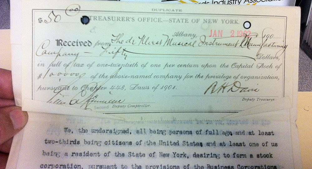 Organization fee receipt for de Kleist MIMC (Niagara County Clerk, 1902-01-02).jpg