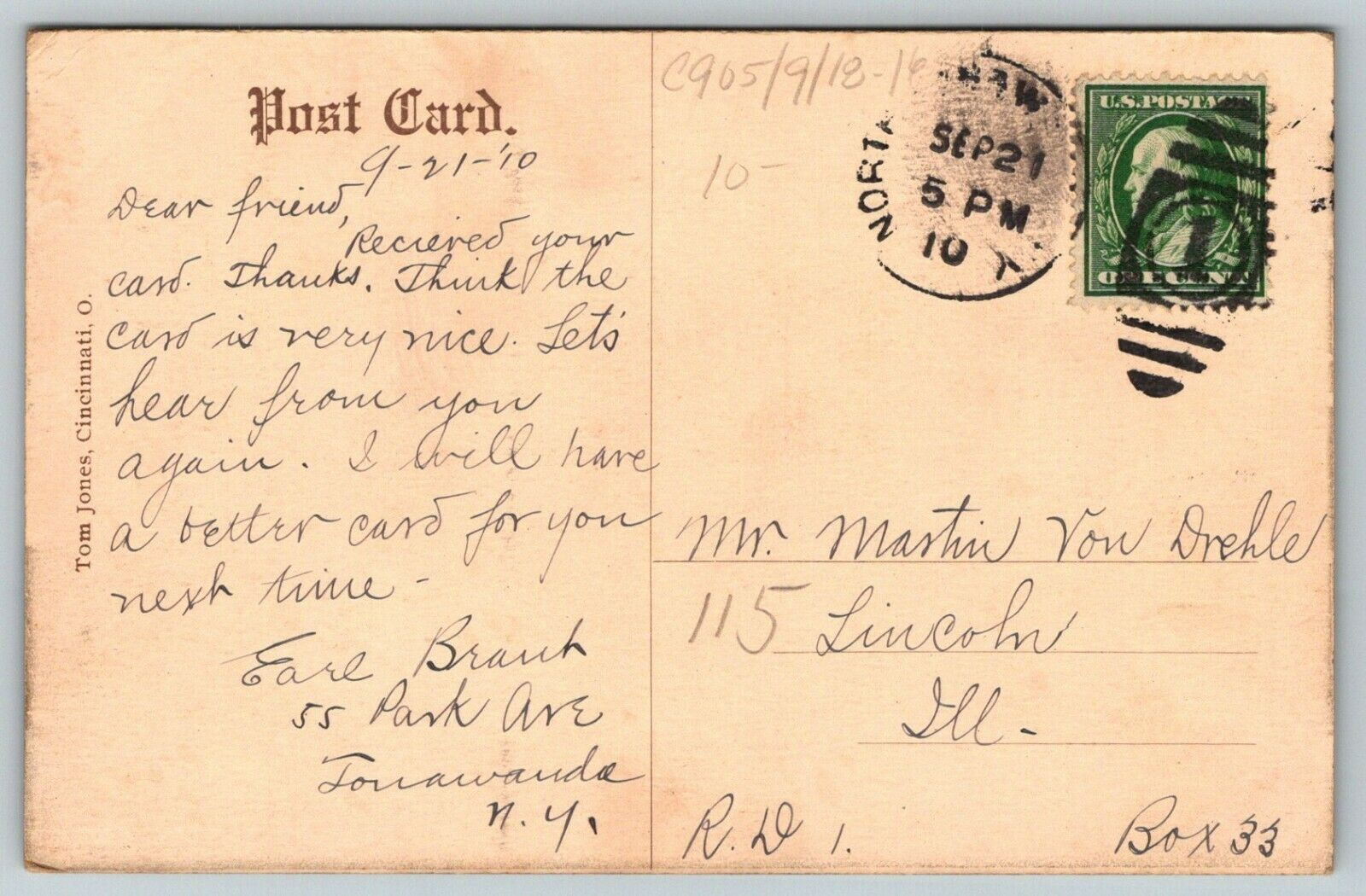 South Niagara Street (showing Erie canal), postcard (1910-09-21) back.jpg