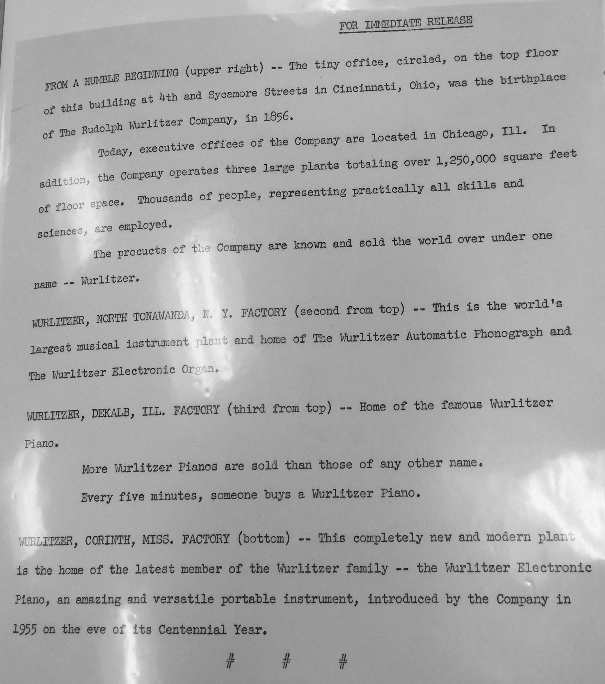 Wurlitzer press release on origins and three factories (1956).jpg