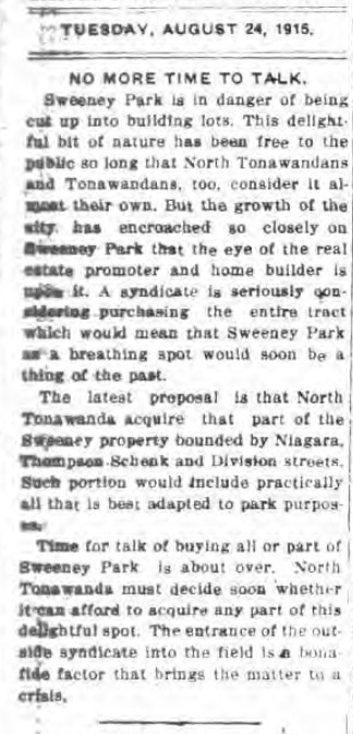 No More Time to Talk, Sweeney Park, article (Tonawanda News, 1915-08-24).jpg