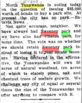Sweeney Park facts corrected for Batavia News, article (Tonawanda Evening News, 1917-07-28).jpg