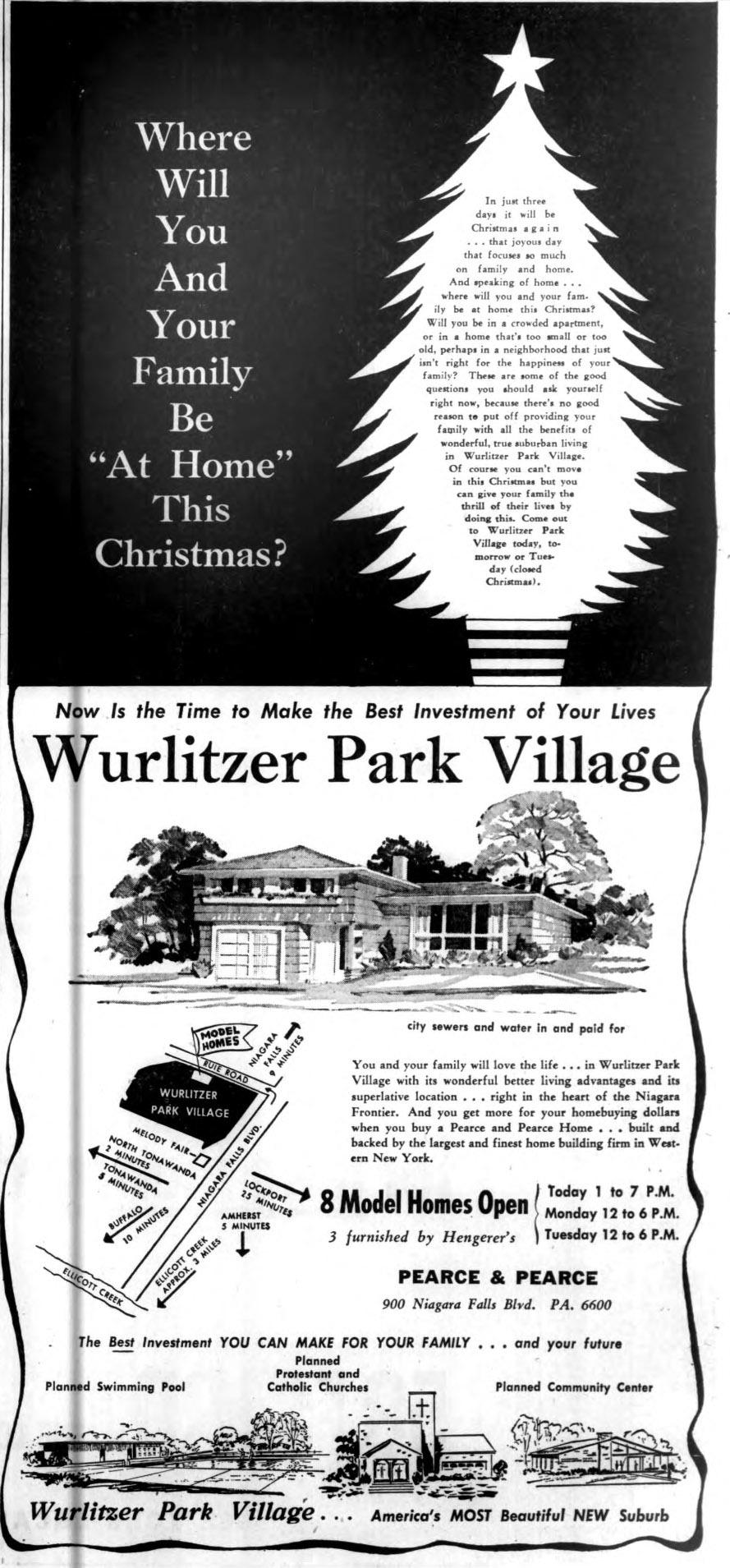 Wurlitzer Park Village, illustrated Christmas ad, Buffalo Courier-Express, 1957-12-22).jpg