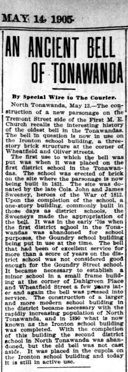An Ancient Bell of Tonawanda, Ironton School, article (Courier Express, 1905-05-14).jpg