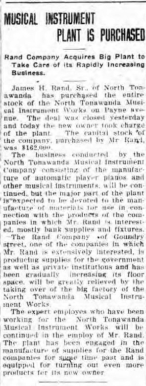 Musical Instrument Plant Is Purchased, article (Tonawanda News, 1918-06-18).jpg
