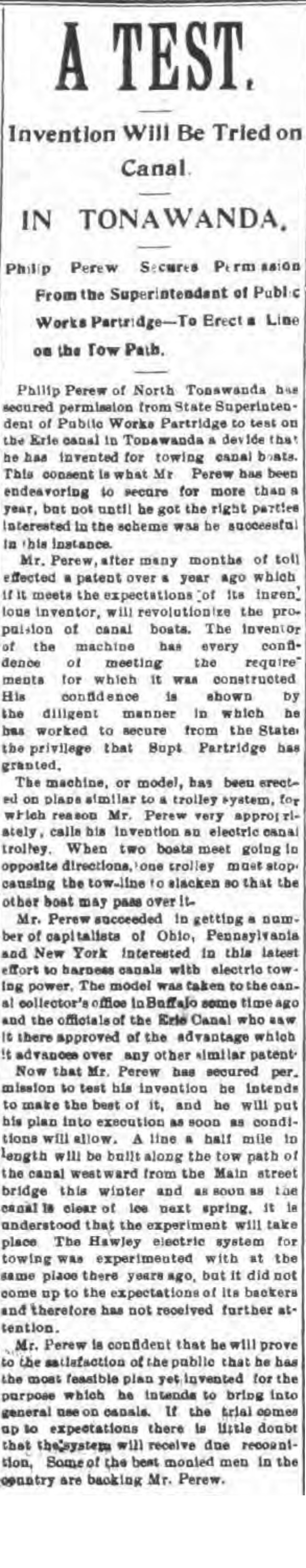 A test, invention will be tried in canal, article (Tonawanda News, 1900-01-12).jpg
