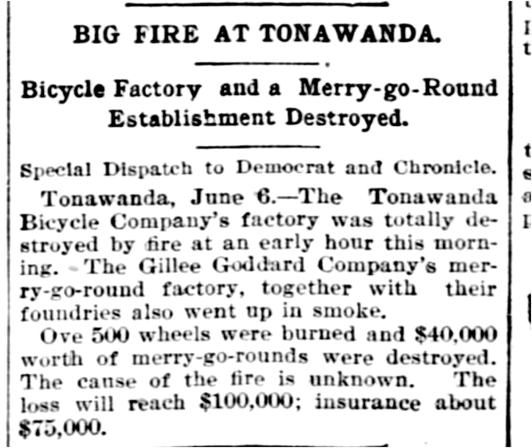 Big Fire at Tonawanda, Gillie Goddard destroyed, article (Democrat and Chronicle, 1896-06-06).jpg