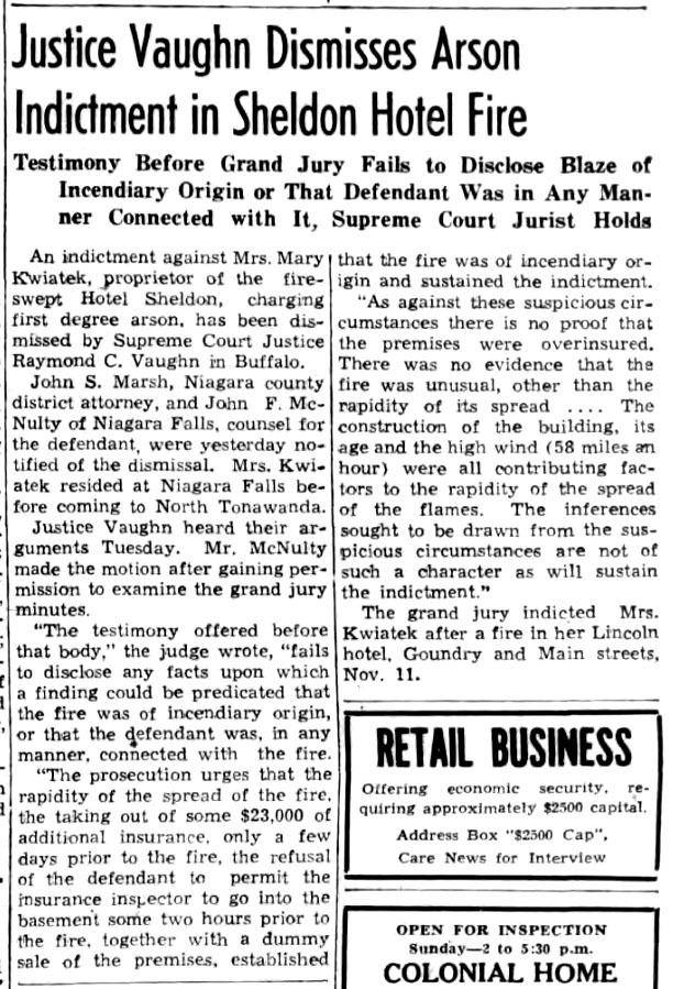 Justice Vaighn DIsmisses Arson Indictment in Sheldon Hotel Fire, article (Tonawanda News, 1941-03-22).jpg