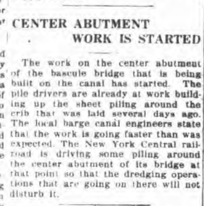Center abutment work is started, article (Tonawanda News, 1918-08-01).jpg