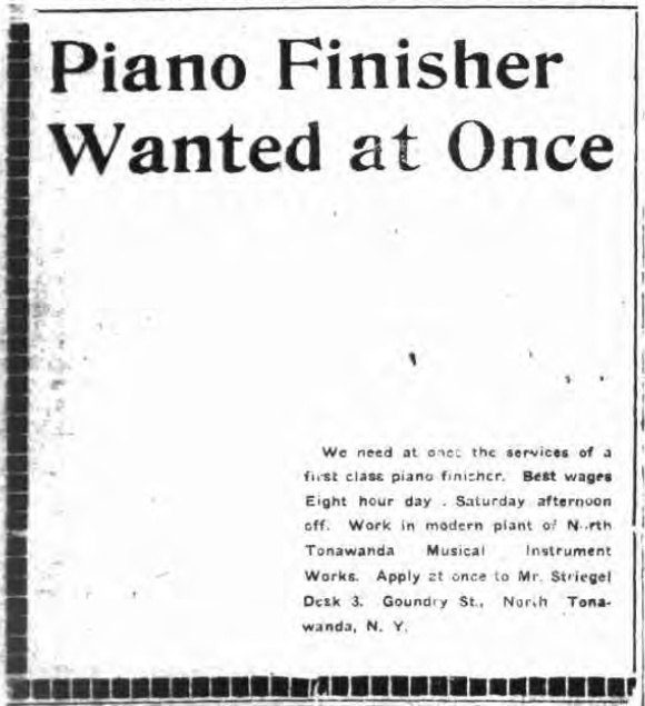 NTMIW Piano Finisher Wanted at Once, ad (Tonawanda News, 1920-02-13).jpg