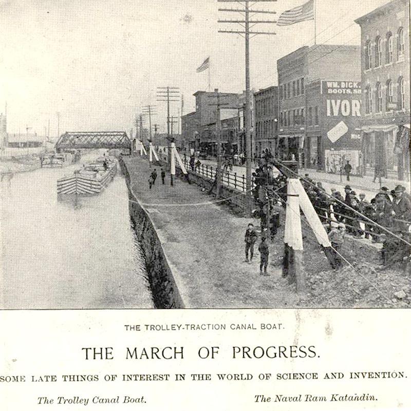 Trolley-Traction Canal Boat, Niagara Street, photo (1896).jpg