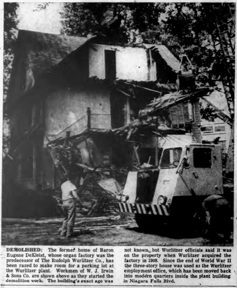 Former de Kleist home on Wurlitzer grounds demolished, photo article (Tonawanda News, 1955-07-30).jpg