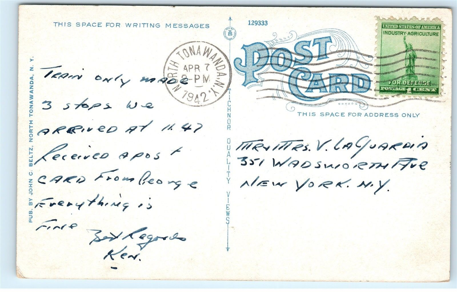 North Tonawanda Post Office, postcard (1942-04-07)  back.jpg