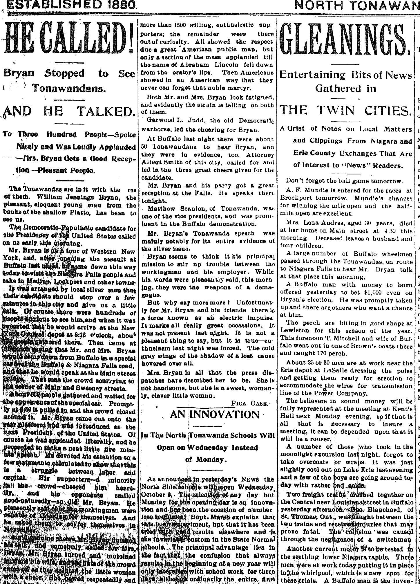 He Called, William Jennings Bryan visits Tonawandas, article (Tonawanda News, 1896-05-16).jpg