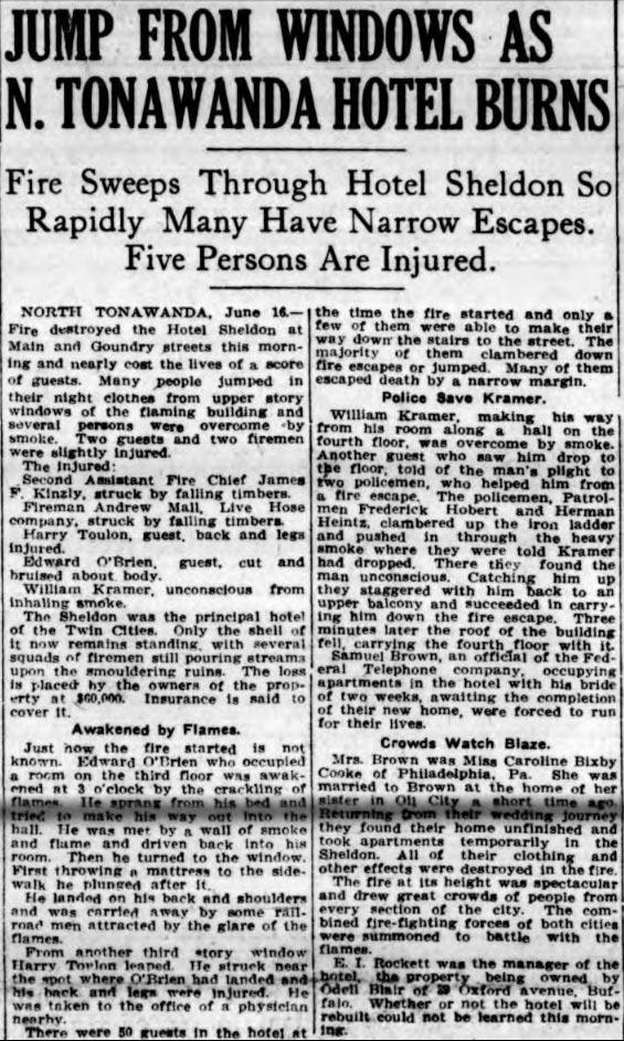 Jump from Windows as N. Tonawanda Hotel Burns, Sheldon, article (Buffalo News, 1915-06-06).jpg