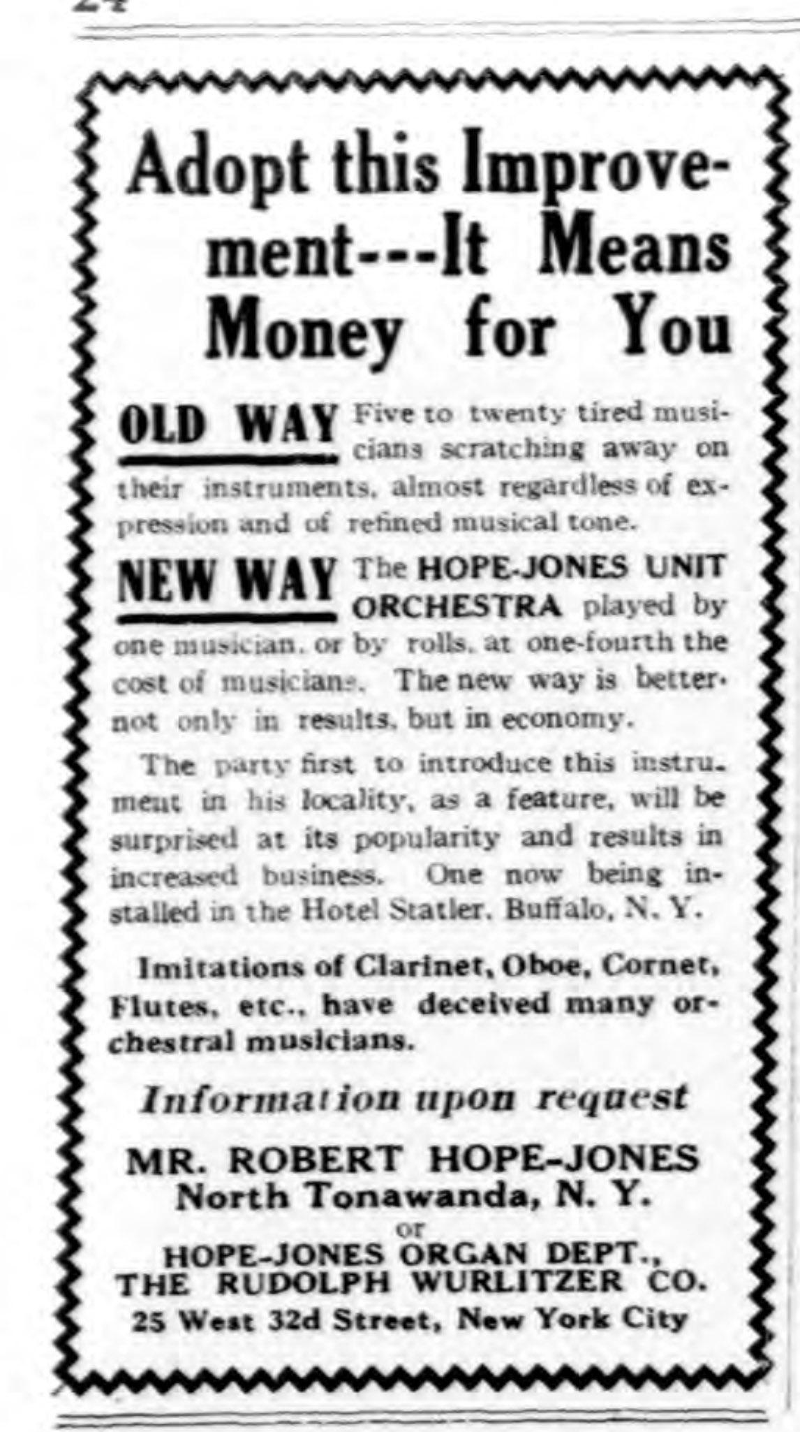 Unit Orchestra, Hope Jones Organ Dept, Wurlitzer, ad (NY Dramatic Mirror, 1910-12-14).jpg