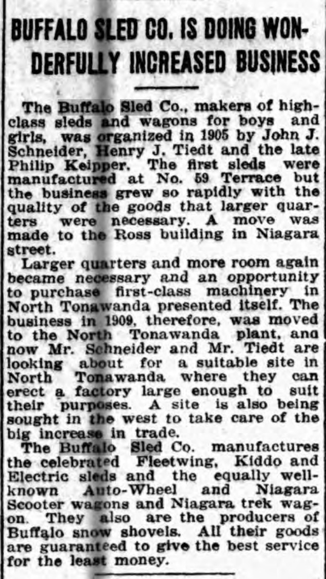 Buffalo Sled Co. doing winderfully increased business, sketch of history, article (Buffalo Courier, 1915-12-22).jpg