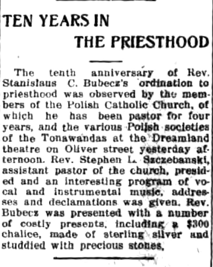Ten years in the priesthood, music and ceremony at Dreamlandm article (Tonawanda News, 1915-06-07).jpg