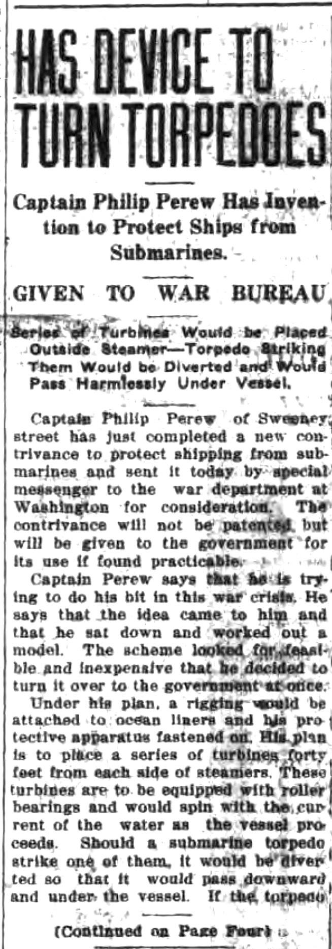 Has device to turn torpdoes, article (Tonawanda News, 1917-08-14).jpg