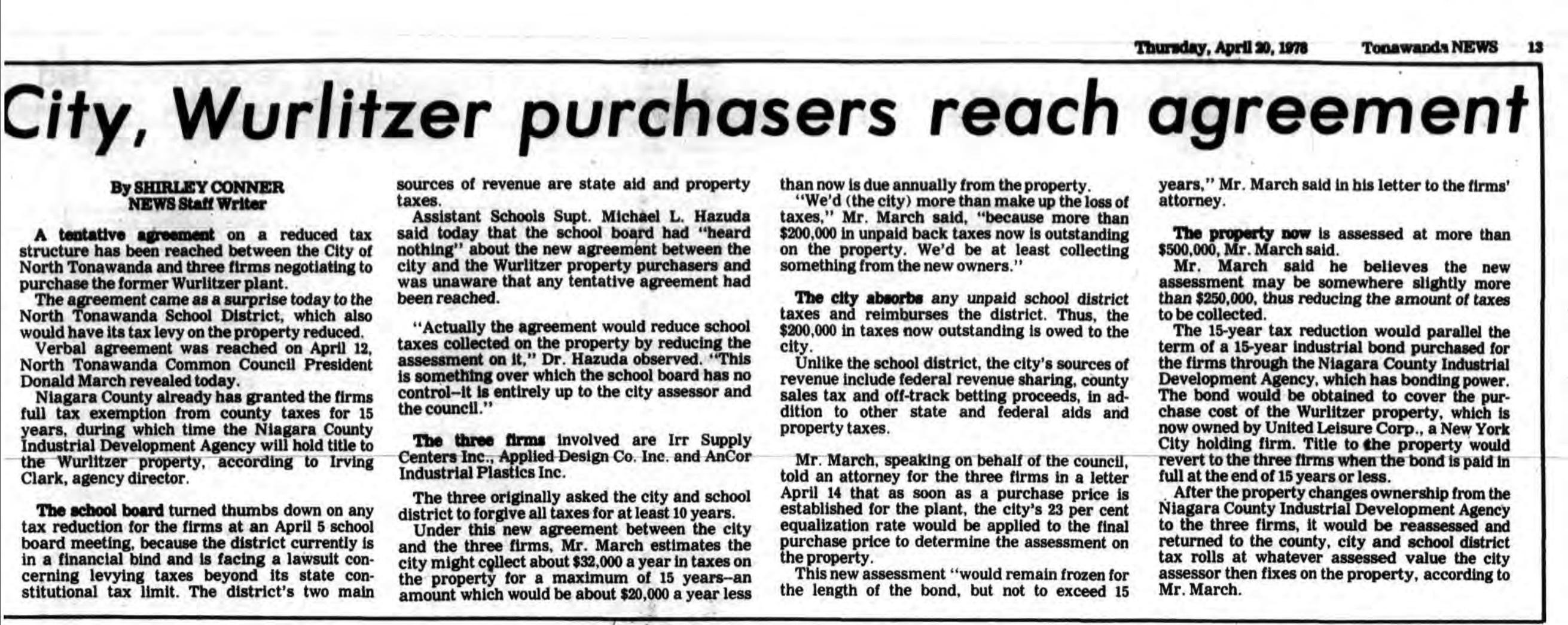 City, Wurlitzer purchasers reach agreement, article (Tonawanda News, 1978-04-20).jpg
