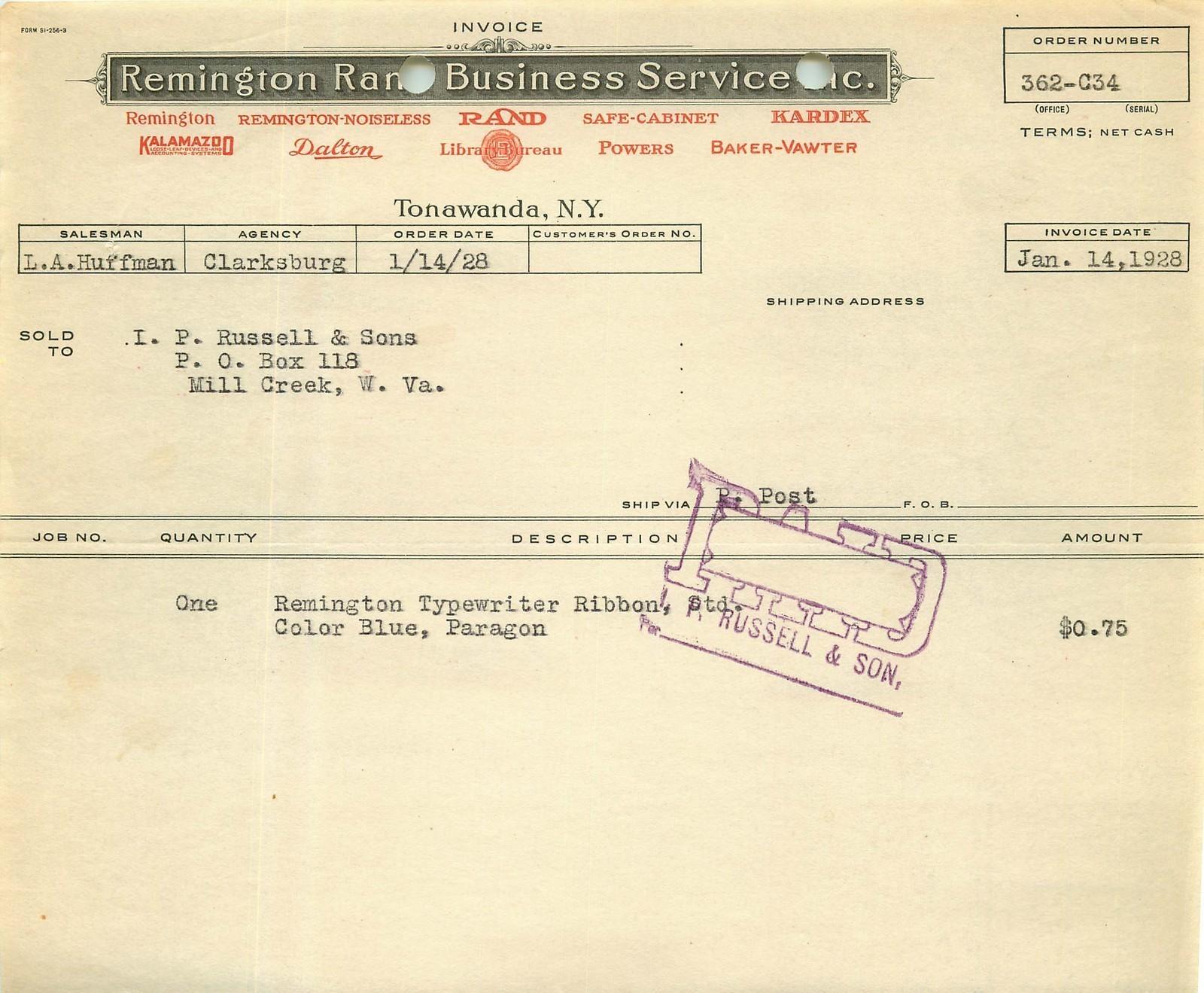 Remington Rand, letterhead receipt (1928).jpg