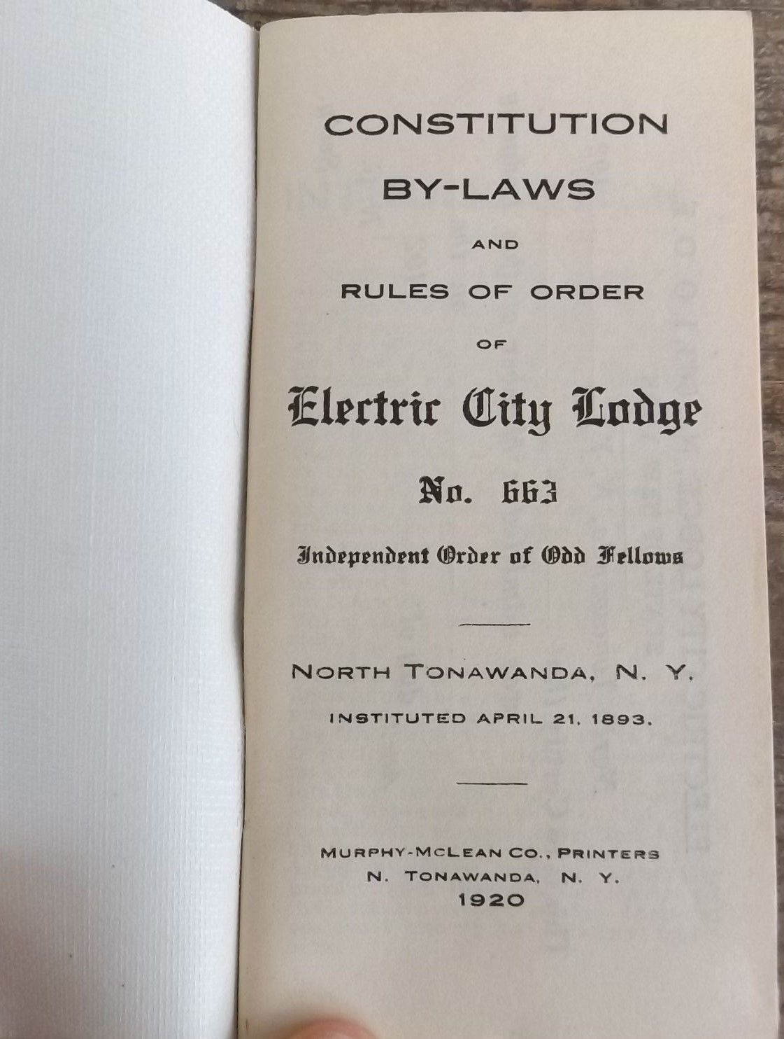 By-Laws of Electric City Lodge 663, I.O.O.F., booklet excerpts, title page (1920).jpg