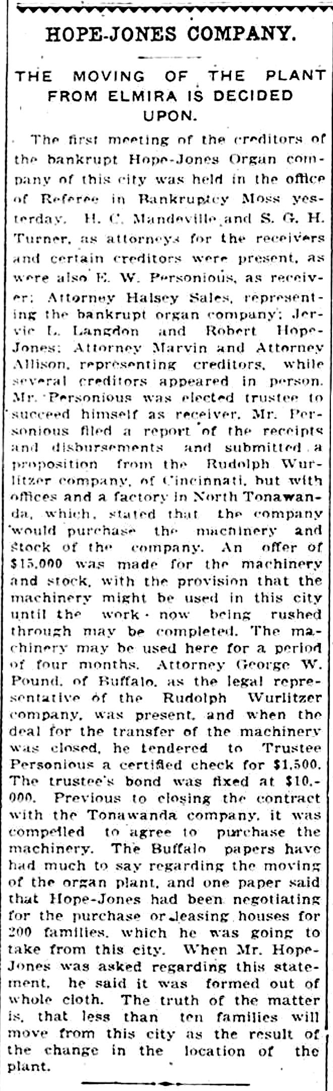 Hope-Jones plant move decided, article (Elmira Telegram, 1910-05-08).jpg