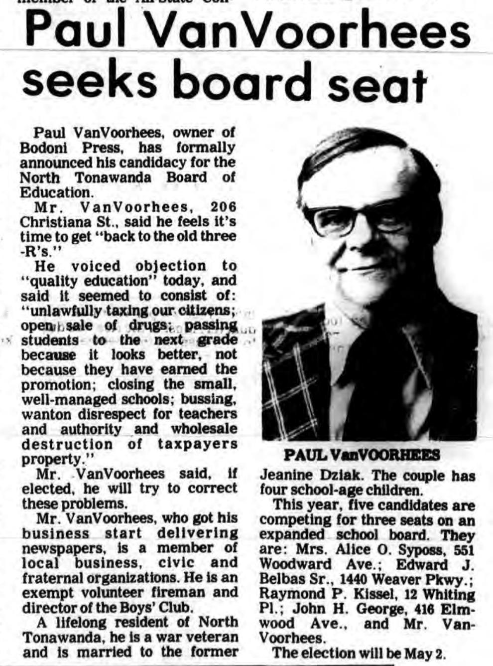Paul VanVoorhees seeks board seat, article (Tonawanda News, 1978-04-20).png
