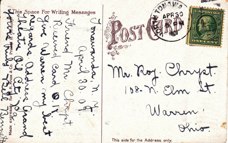 The YMCA Building, postcard back (1909).jpg