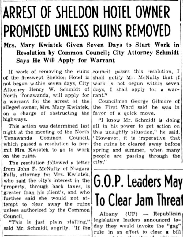 Arrest of Sheldon Hotel Owner Promised Unless Ruins Removed, article (Tonawanda News, 1941-04-01).jpg