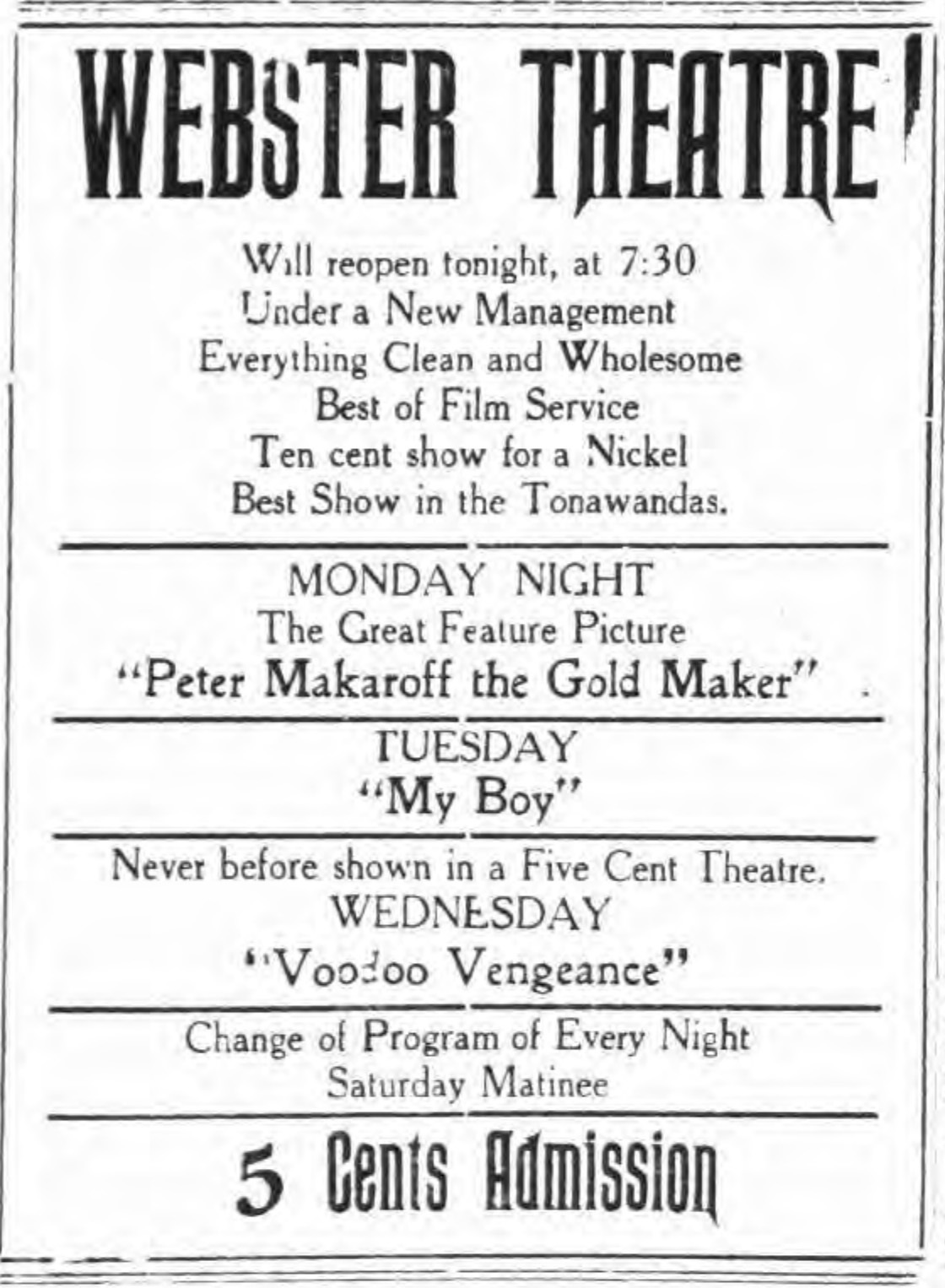 Webster Theatre will reopen tonight, ad (Tonawanda News, 1914-06-22).jpg