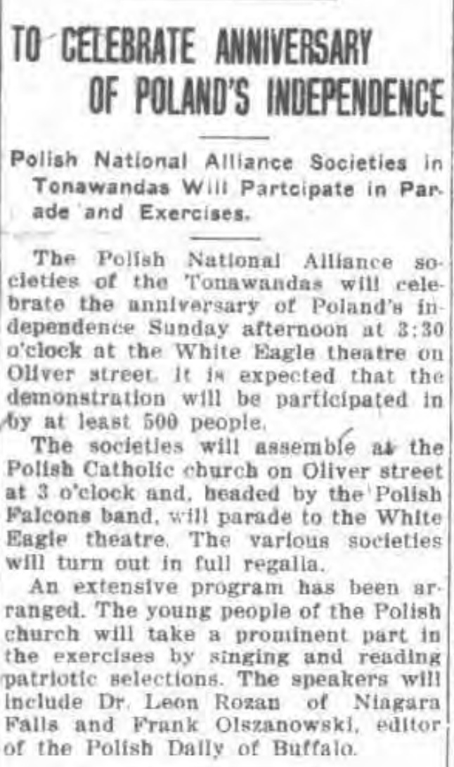 To celebrate annoversary of Polands independence, march to White Eagle, article (Tonawanda News, 1918-05-09).jpg