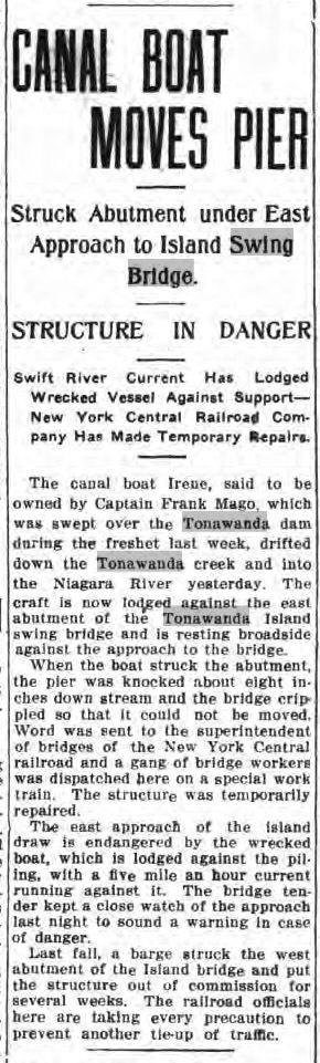 Canal Boat Moves Pier, article (Tonawanda News, 1913-03-20).jpg