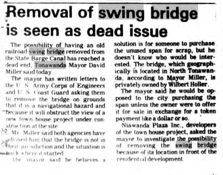 Removal of Swing Bridge Is Seen as dead Issue, article (Tonawanda News,1985-08-08).jpg