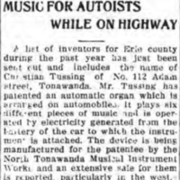 Music for Autoists While on Highway, Christian Tussing patent, NTMIW (Tonawanda News, 1915-01-05).jpg