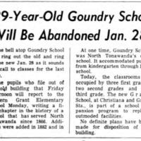 89-year-old Goundry School will be abandoned Jan 28, article (Tonawanda News,1955-01-13).jpg
