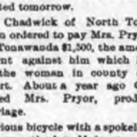 John Chadwick ordered to pay for assault on Mrs. Pryor producing miscarriage, article (1895).jpg