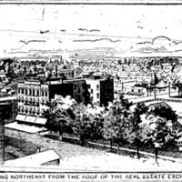Looking northeast form the roof of the Real Estate Exchange, illustration (1893-08-05 Tonawanda News).jpg