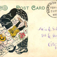 South Niagara Street, looking west, Tonawanda, illustrated postcard with drawing reverse (1908).JPG