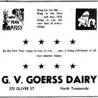 Goerss Dairy, ad (Tonawanda Evening News, 1952-12-31).jpg