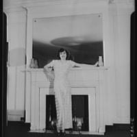 Van Raalte Co, woman models silk nightgown wartime conversion, photo (LOC 1942).jpg