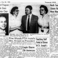 Pine Woods School Principal Simms welcomes PTA, photo article (1959-05-26, Tonawanda News).jpg