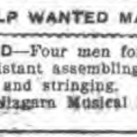 Niagara MIMC, WANTED Four for assembling, bellying, mounting and stringing (Tonawanda News, 1913-02-17).jpg