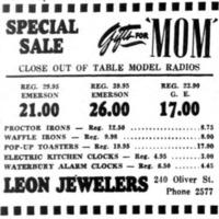 Leon Jewelers, 240 Oliver, ad, logotype (Tonawanda News, 1948-05-08).png