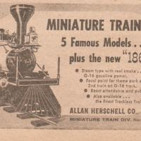 Allan Herschell miniature train, ad (1960).jpg