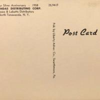 Genesee Brewing - Tonawandas Distributing Corp., postcard back (1958).jpg