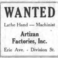 WANTED lathe hand, machinist, Artizanad (Tonawanda News, 1927-06-30).jpg